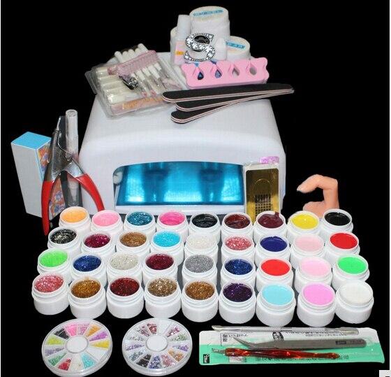 36 cores uv gel kit decoracoes da arte do prego 36w cura uv lampada kit secador