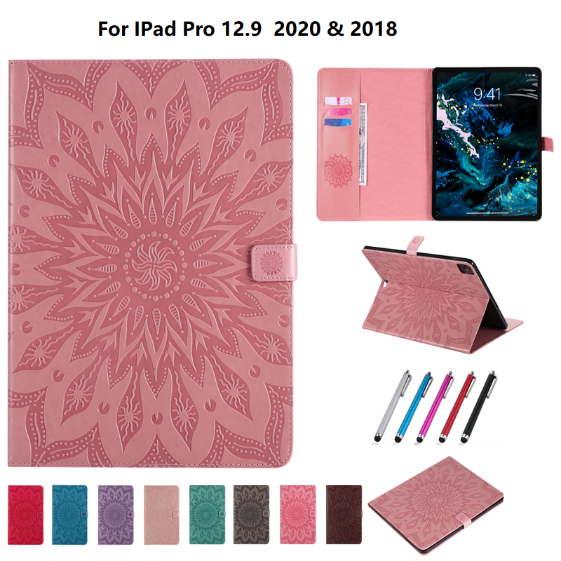 Leather 2020 for 9 Flower Protective Cover 12 Case iPad Skin 3D Shell Embossed Pro
