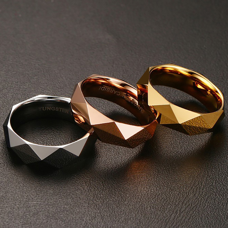 Vintage Fashion Tungsten Steel Men's Ring Rhombus Cut Band Gold Color/Rose Gold Rings for Men Wedding Jewelry Engagement Ring(China)