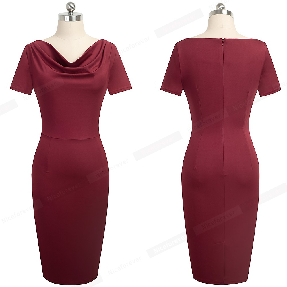 Nice-forever Women Vintage Wear to Work Elegant vestidos Business Party Bodycon Sheath Office Ruffle Female Dress B452 5
