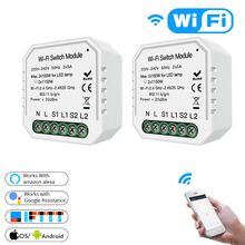DIY Wifi Smart Light Switch Module APP Remote Control Do Not Chang the Original Switch Work with Alexa Google Home 2 Gang 2 Way. game props insert the switch tools with sound 2 way password set card can be trigger unlock light or putter