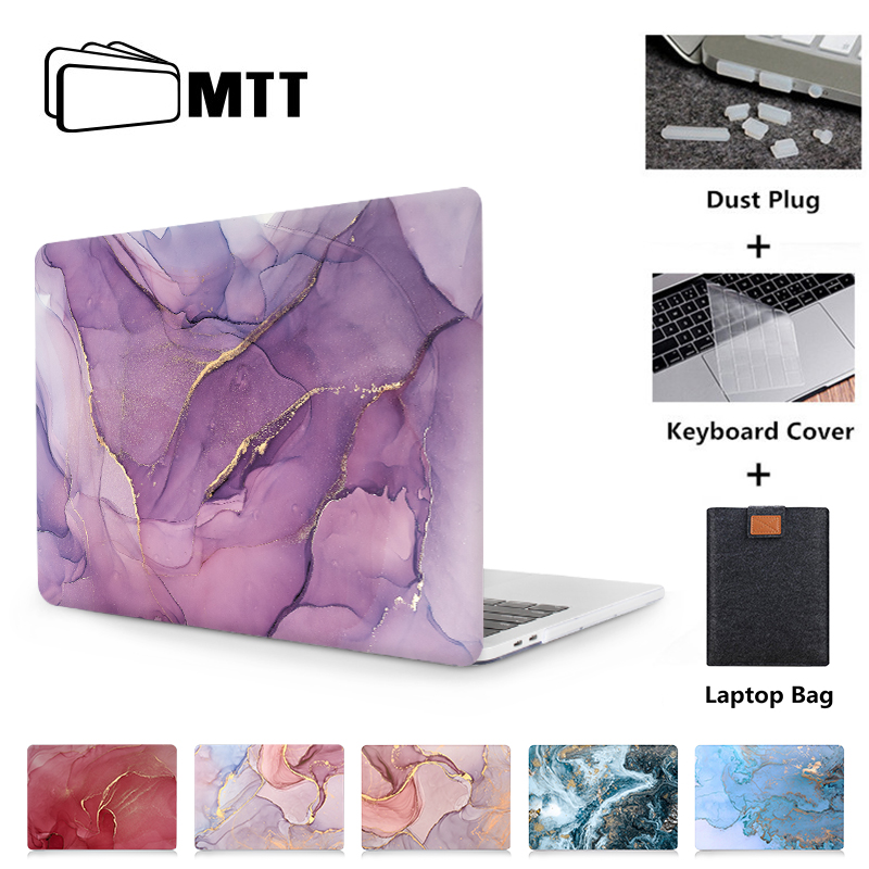 MTT Laptop Case For Macbook Air Pro Retina 11 12 13 15 16 Marble Cover For Mac Book 13.3 Inch Touch Bar A1466 A1932 A2159 A2141
