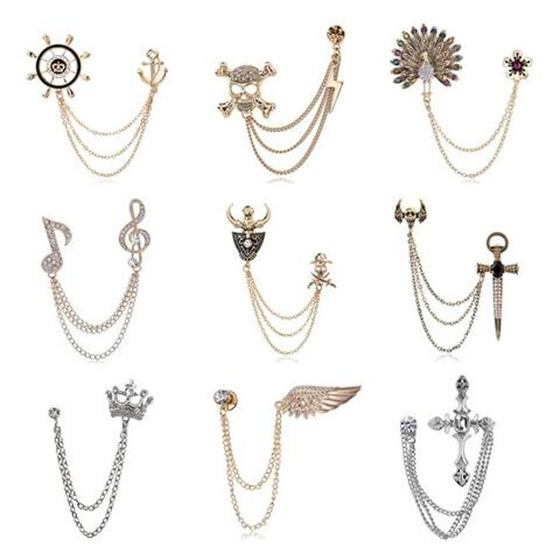 Korean British Style Crown Bird Brooch Cross Suit Tassel Chain Lapel Pin Angle Wings Badge Retro Female Corsage Men Accessories 2