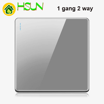High-grade 1 2 3 4 gang 1 2 way big panel Grey switch socket Type 86 Wall 2.5D Cambered Mirror Toughened glass Computer TV 20