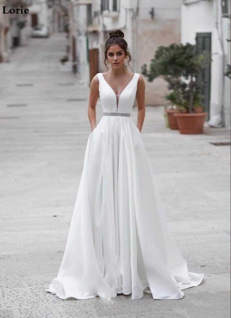 Image 4 - Lorie Satin Wedding Dresses V Neck  Bride Dresses Buttons Vestido de novia  Boho Elegant Wedding Gown For Women Custom Made-in Wedding Dresses from Weddings & Events