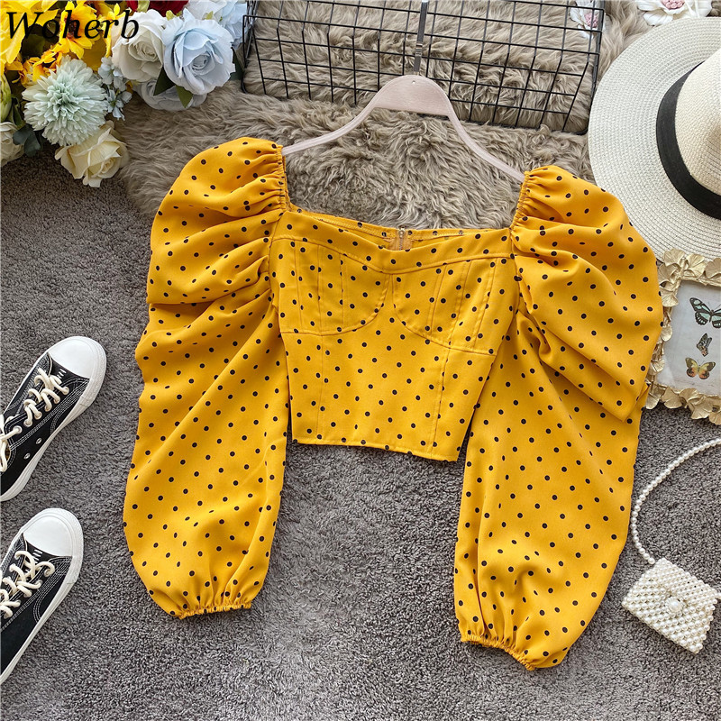 Woherb Shirt Womens Tops And Blouses OL Elegant Polka Dot Print Crop Blouse Lady Long Puff Sleeve Blusas Korean Fashion Clothes