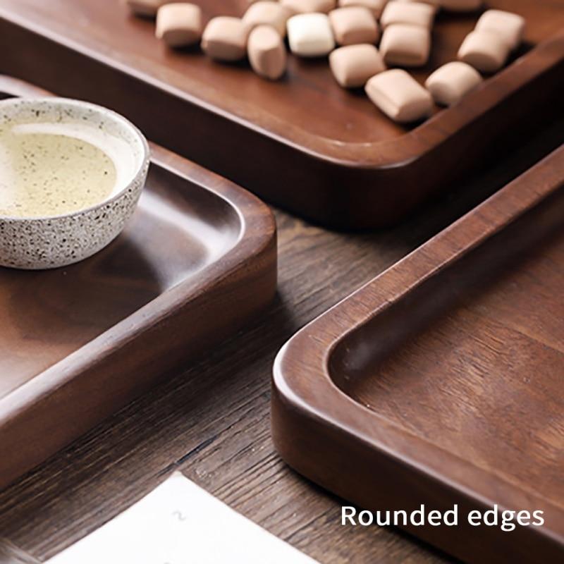 Квадратная/круглая тарелка для хранения деревянные подставки лоток для напитков с функцией хранения воды Природный поднос из ореха кухонная посуда-5