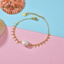 Nextvance – Bracelet à pampilles en or pour femme et fille, bijou bohème, en acier inoxydable, avec perles et pendentif, cadeau d'anniversaire