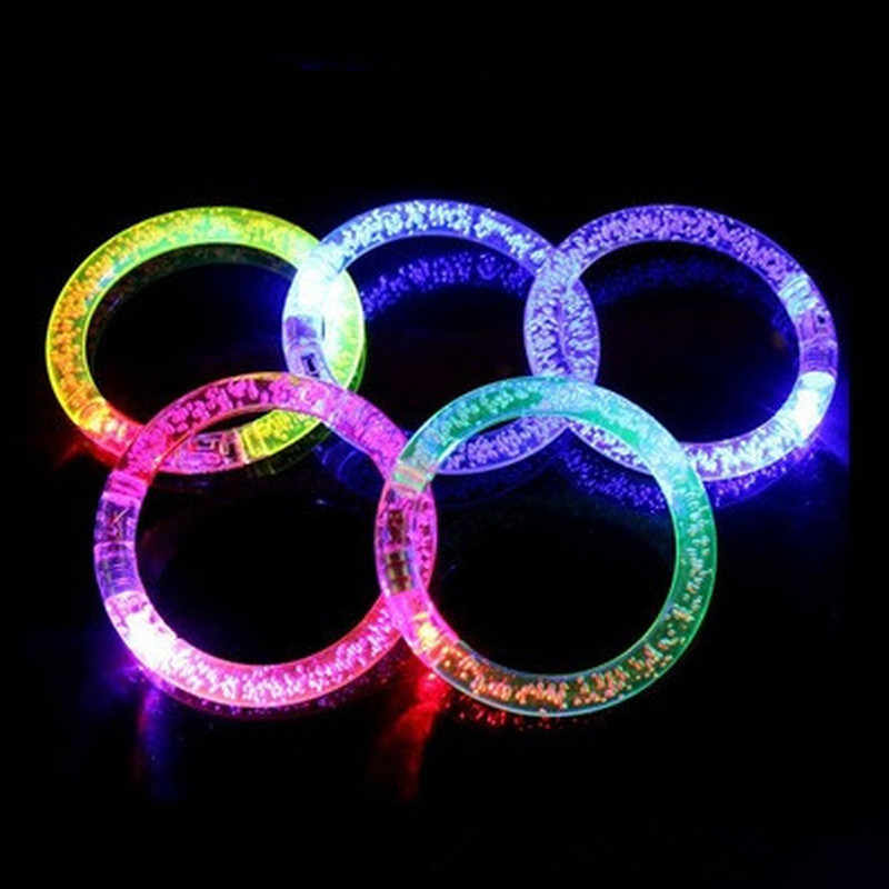 Children's Toy Acrylic Glitter Glow Light LED Luminous Crystal Gradient Color Bracelet Bangle Creativity Party Flash Wristband
