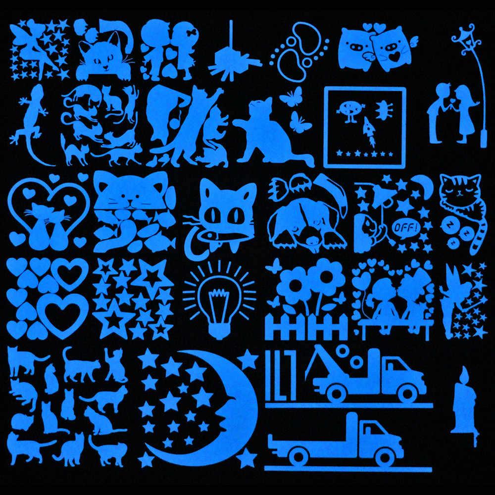 مفتاح الإضاءة ملصقا ملصقات جدار مضيئة الكرتون توهج في الظلام ملصق مائي للأطفال غرفة الديكور ديكور المنزل القط الجنية