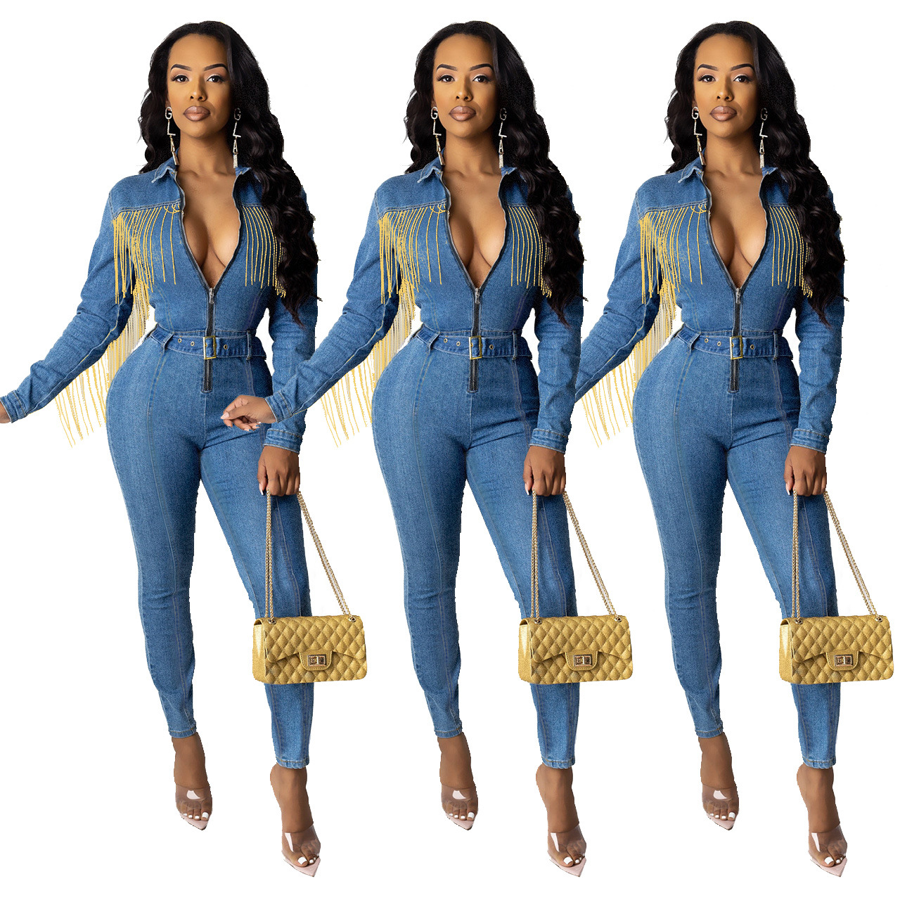 2020 Europe and America autumn and winter women's new sexy fashion fringed denim trousers jumpsuit with belt