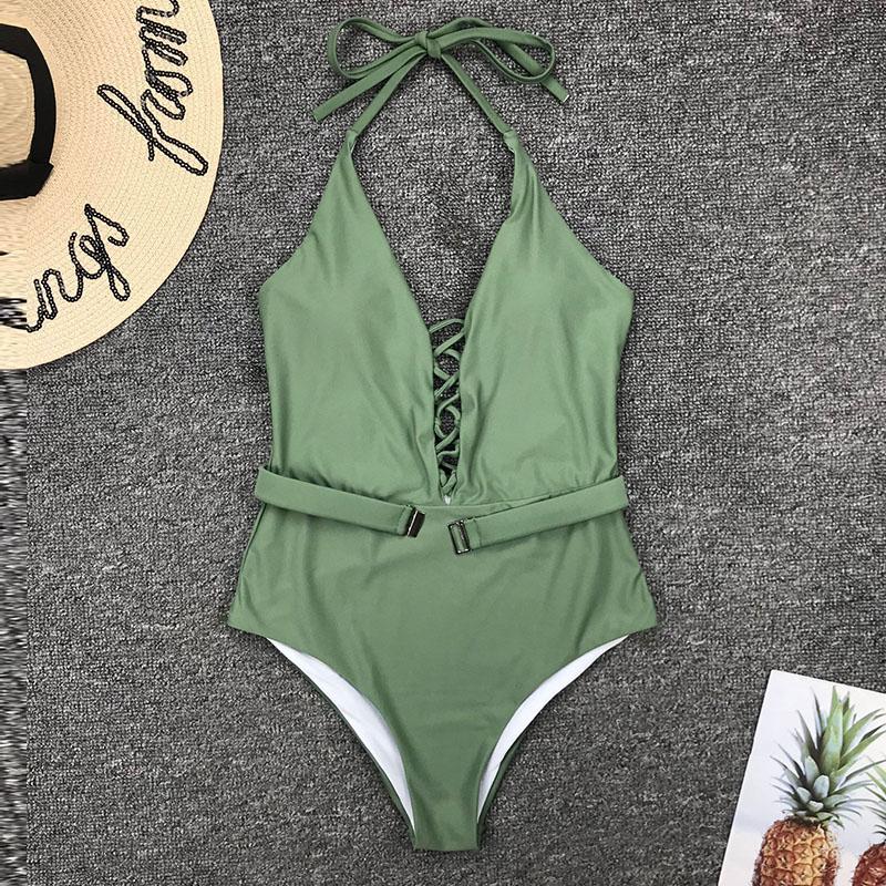 Одноцветный купальный костюм с бретельками, модель 2020 года, сексуальный купальник для женщин, с поясом, с высокой посадкой, пляжная одежда, u-... 54