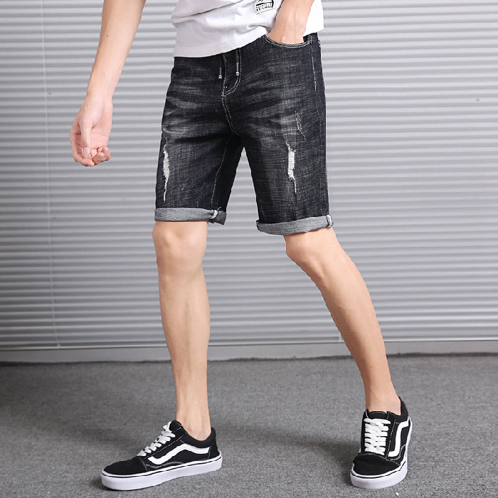 Summer Thin Section Korean-style Capri Jeans Men's Middle Pants Elasticity Men Capris Slim Fit Skinny Pants Shorts Trend