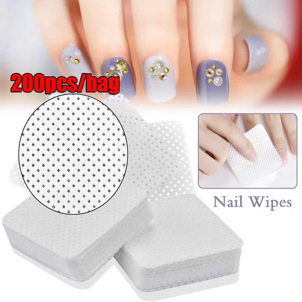 200pcs Women Lint-Free Meltblown Nail Wipes Cotton Pads Paper  Nail Art Manicure Polish Remover Cleaner Beauty Accessories