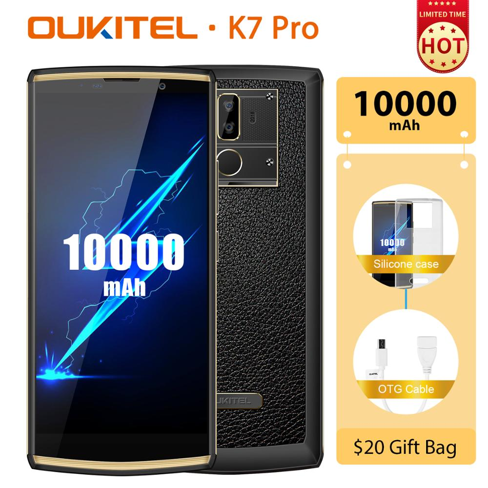 "OUKITEL K7 Pro Android 9.0 Smartphone MT6763 Octa Core 4GB 64GB 6.0"" FHD+ 18:9 Screen 10000mAh Fingerprint 9V/2A QC Mobile Phone"
