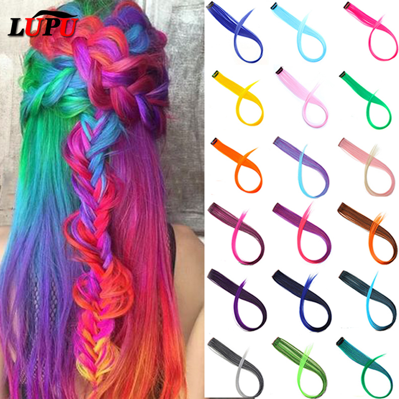 LUPU Long Straight Hair Extensions One Clip In One Piece Colored Highlight Rainbow Pink Purple Synthetic Hair Strands On Clips