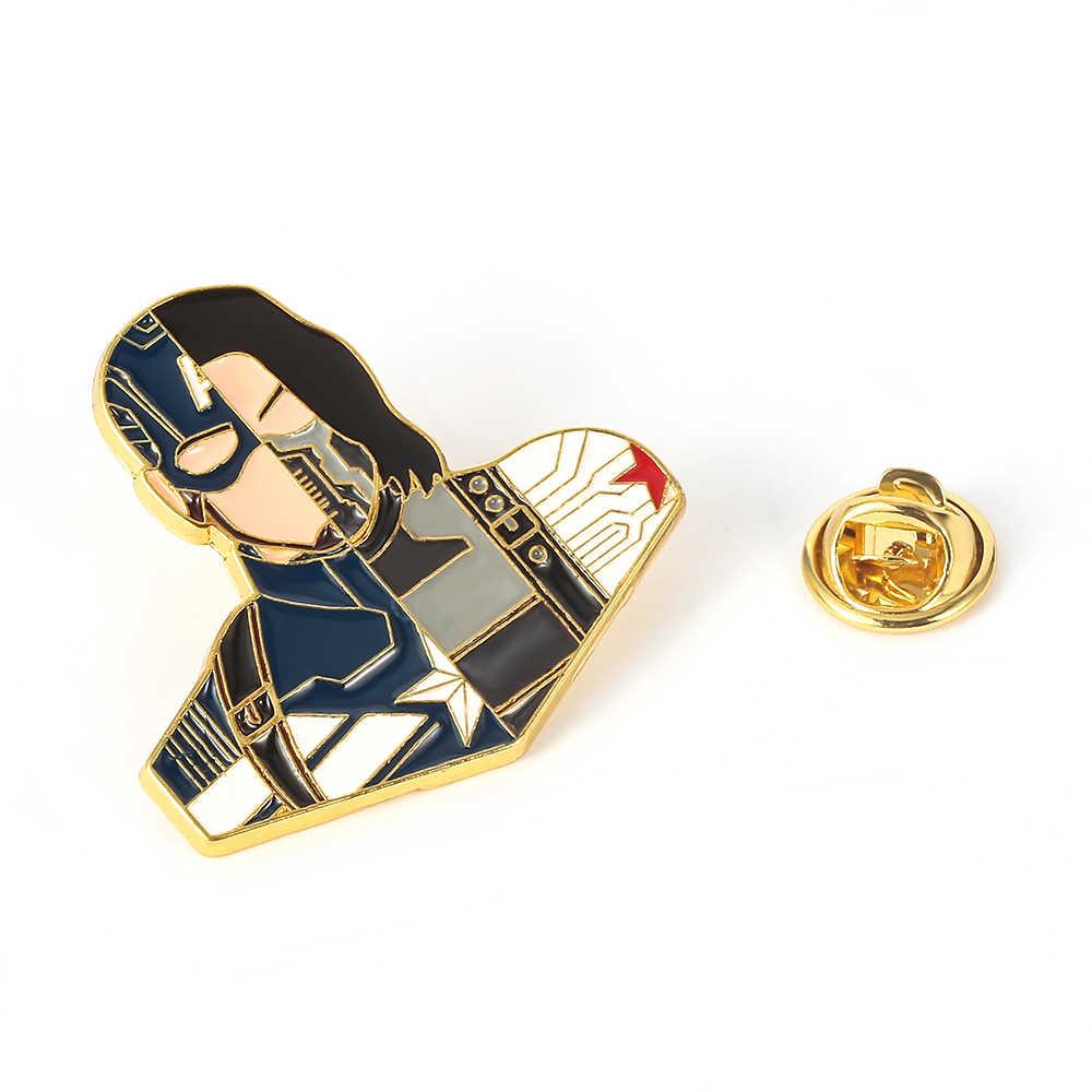 Kapten Amerika Bucky Barnes Thor Loki CP Sambatan Lencana Bros Marvel Avengers Kreatif Sambatan Pin Bros Kerah Perhiasan