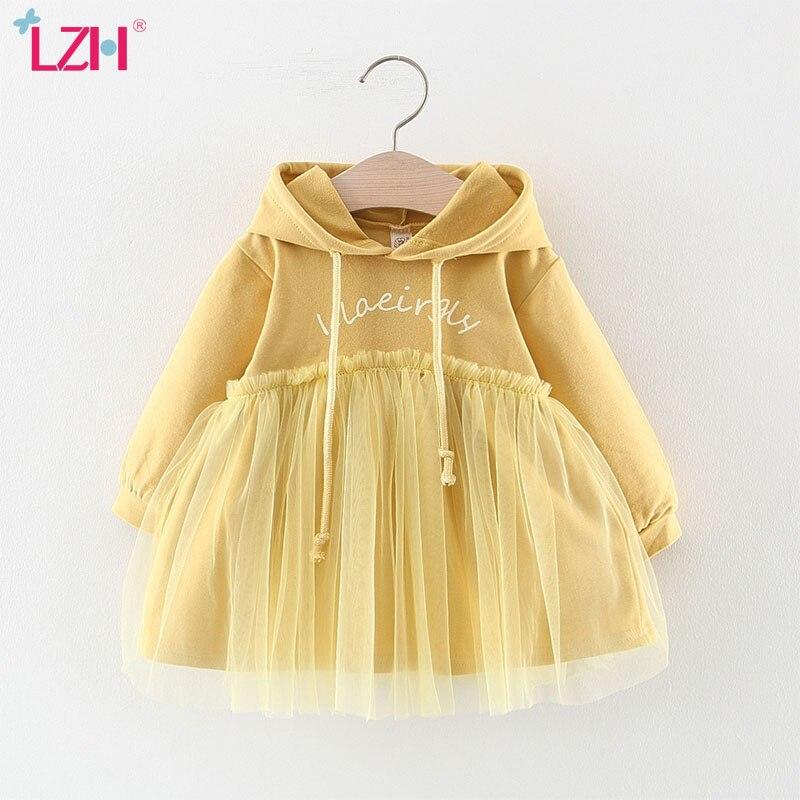 LZH 2020 Hot Selling Autumn Fashion Sweater Mesh Dress Hooded Long Sleeve Baby Girls Dress Infant Dress Newborn Clothes 0-3 Year