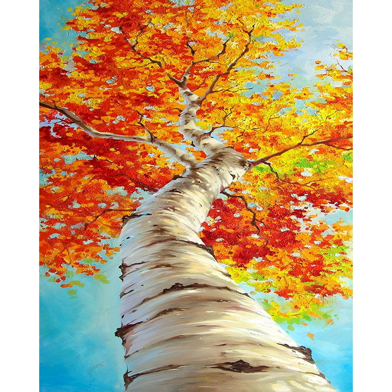 Painting by number art beautiful HandPainted Gift Pictures Autumn of White Poplar Scenery for Kids & Adults Home Decor Handmade-0