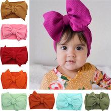 Для новорожденных и маленьких девочек и повязка на голову для малышей большой бант повязка на голову; Милая однотонная Эластичный Тюрбан; Б...