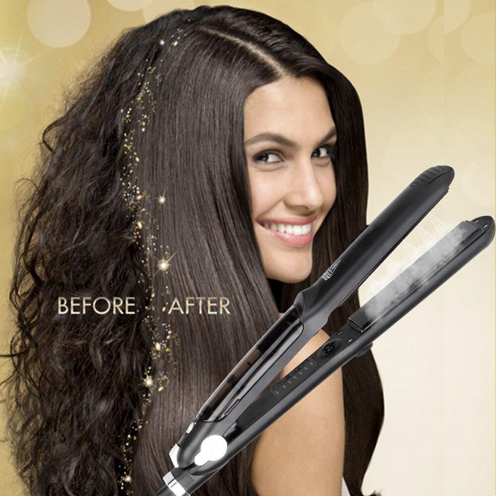 Professional 450F Ceramic Steam Hair Straightener with Argan Oil Infusion Steam Flat Iron Ceramic Vapor Fast Heating Iron