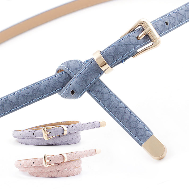 105x1.1cm 2019 Female Pu Leather Snake Belts Women Thin Skinny Waist Belt For Dress Hot Pin Buckle Waistband Cinto Feminino