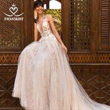 Swanskirt Stunning Beaded Wedding Dress 2020 V neck Appliques A Line Backless Illusion Princess Bride Gown Vestido de novia F263