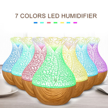 130ml Vase Aromatherapy Diffuser Air Humidifier Ultrasonic Portable Fashion Creative Exquisite Gifts Wood Grain