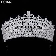 Королевская королева принцесса полный Циркон высокие тиары и