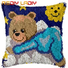 Latch Hook Kit Membuat Anda Sendiri Bantal Biru Teddy Bear Kanvas Crochet Sarung Bantal Kait Bantal Cover Seni & Kerajinan(China)
