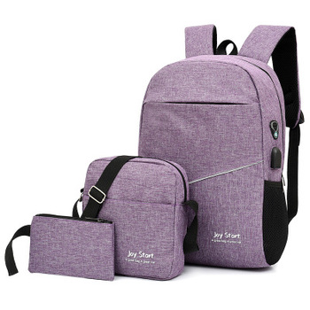 3 pcs USB charging casual backpack fashion men's bag multifunctional backpack Male Leisure Backpack Night Reflective School Bags - purpul, China