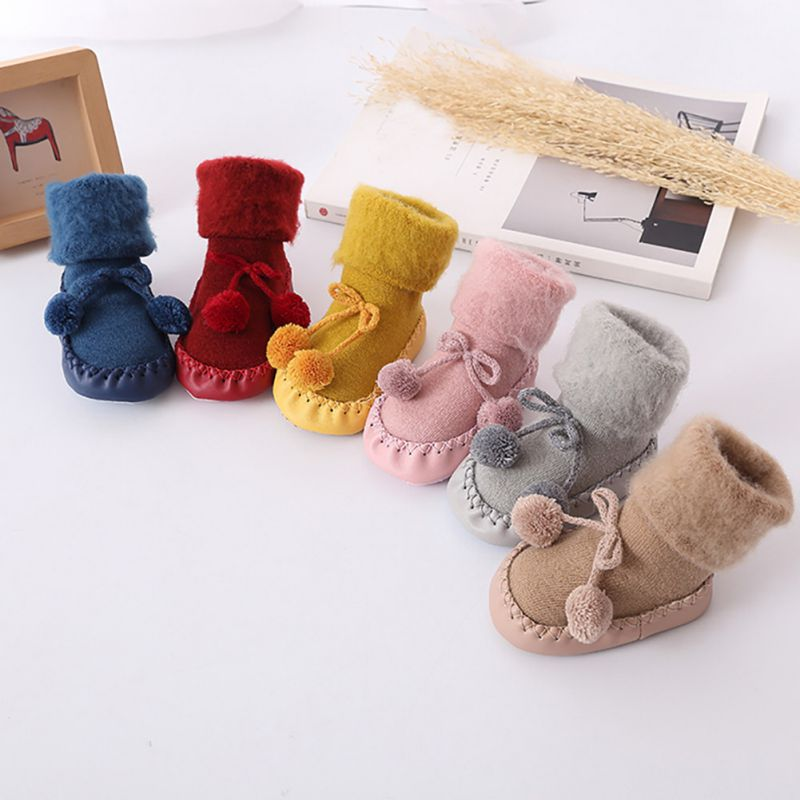 Newborn Baby Socks Shoes Cute Floor Shoes With Rubber Sole Winter Soft Girls Boys Anti-Slip Socks Indoor Shoes 0-2Y