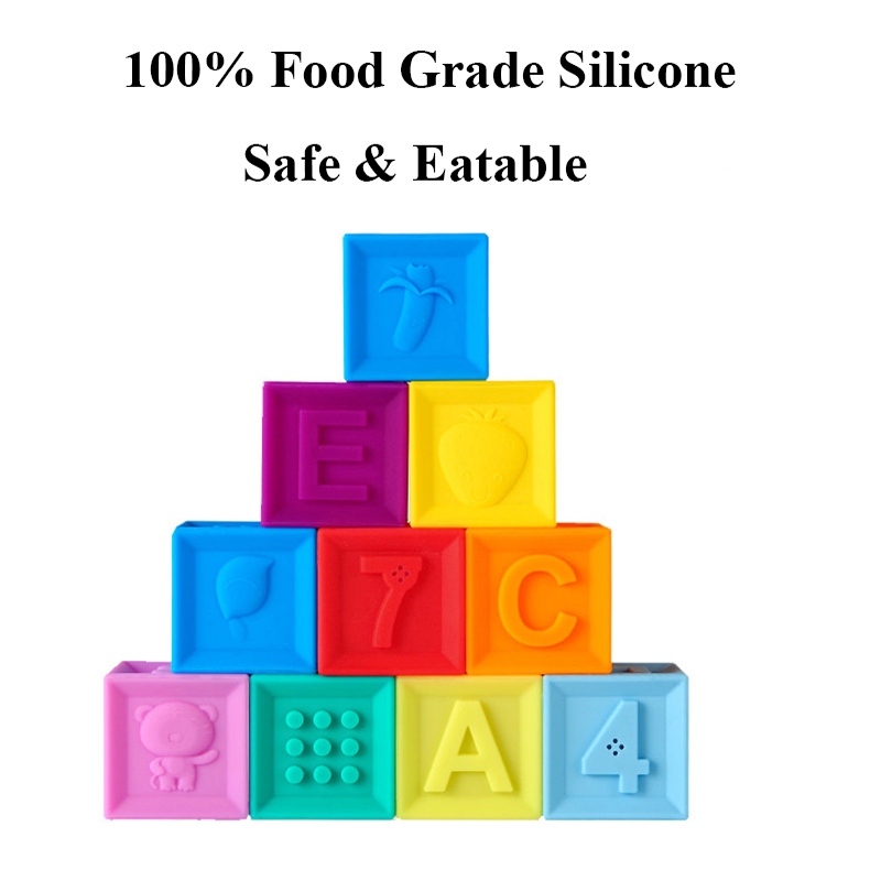 Image 3 - Silicone Blocks Baby Toys 100% Food Grade Teether Safe And Eatable Toys Cognitive Training For Infant Gift    -