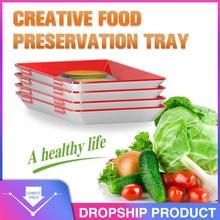 6 قطعة الإبداعية الطازجة الغذاء حفظ صينية المنظم الطازجة الغذاء الحفاظ البليت الثلاجة الغذاء تخزين الحاويات المطبخ