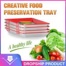 6Pcs Creative טרי מזון שימור מגש ארגונית טרי מזון שימור מזרן מקרר מזון אחסון מכולות מטבח