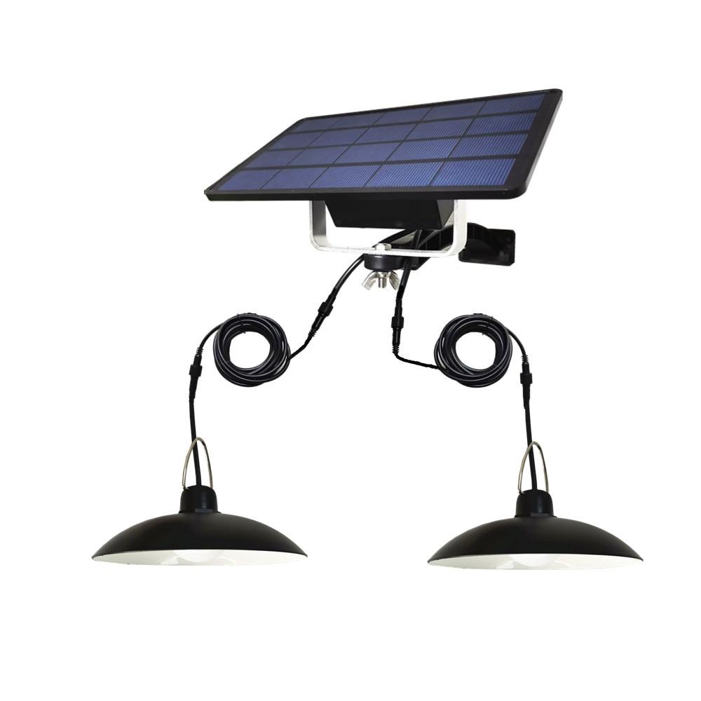 Double Heads LED Solar Light Solar Emergency Lamp Outdoor/Indoor Waterproof IP65 For Camping Terrace Garden Home Tent Chandelier(China)