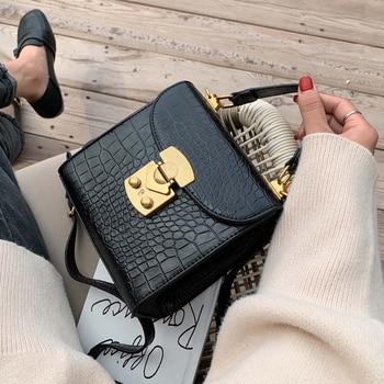 Мини-сумки через плечо с каменным узором из искусственной кожи для женщин 2019 дизайнерская сумка через плечо с замком женские дорожные сумки