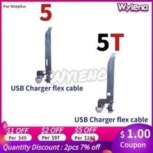 Wyieno para oneplus 5 5t carregador porta placa conector de carregamento usb cabo flexível microfone mic plug peças reposição + rastreamento