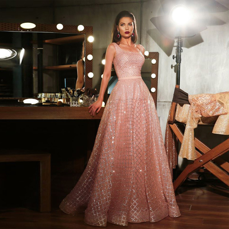 Sequined Evening Gowns Square Collar Sequined Sleeveless Backless Formal Dress Women Elegant Prom Party Dress Robe De Soiree