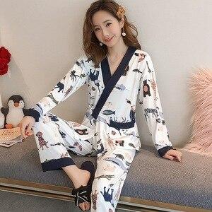 Пижама-кимоно, наборы для женщин, весна 2020, пижама с длинным рукавом, Хлопковая пижама с принтом, домашняя пижама, Mujer, домашняя одежда