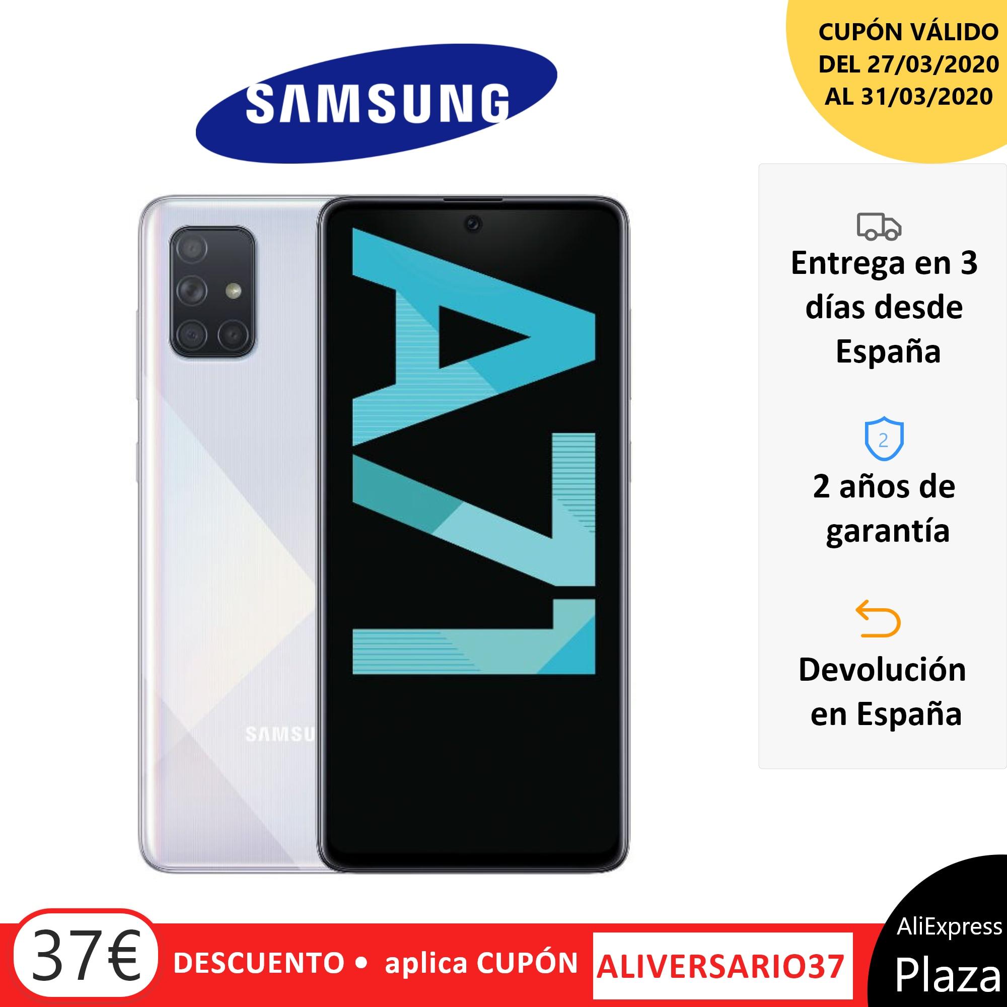 Teléfono Samsung Galaxy A71, Color Azul Blanco Negro, 128 GB De Memoria Interna, 6 GB De RAM, Pantalla FHD+ De 6.7