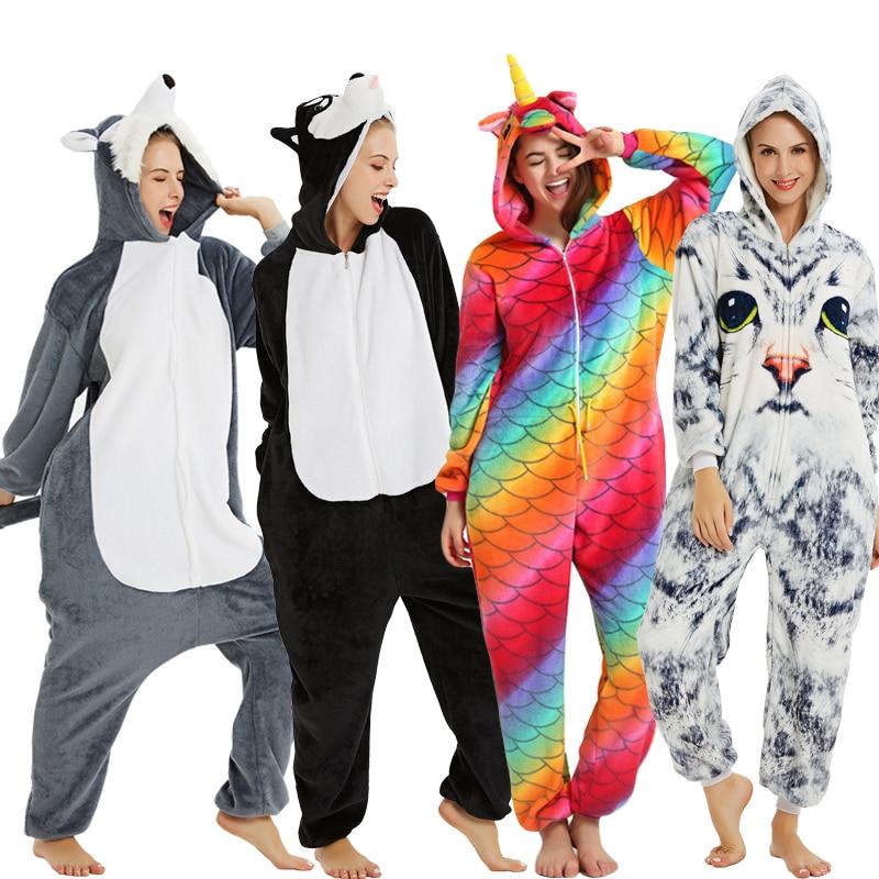 New Animal Unicorn Pajamas Adults Winter Sleepwear Kigurumi Wolf Panda Unicornio Pyjamas Women Onesie Anime Costumes Jumpsuit 6