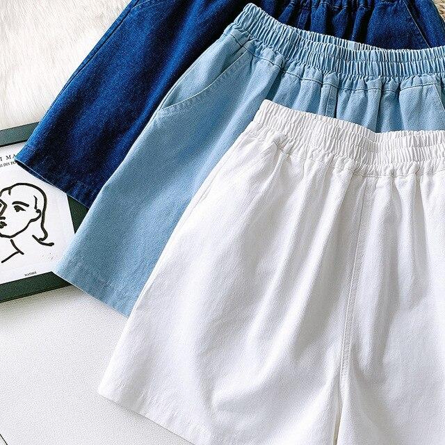 Summer Women Denim Shorts Casual High Waist Stretch Casual White Shorts Female Trousers Outwear Women Summer Shorts 3