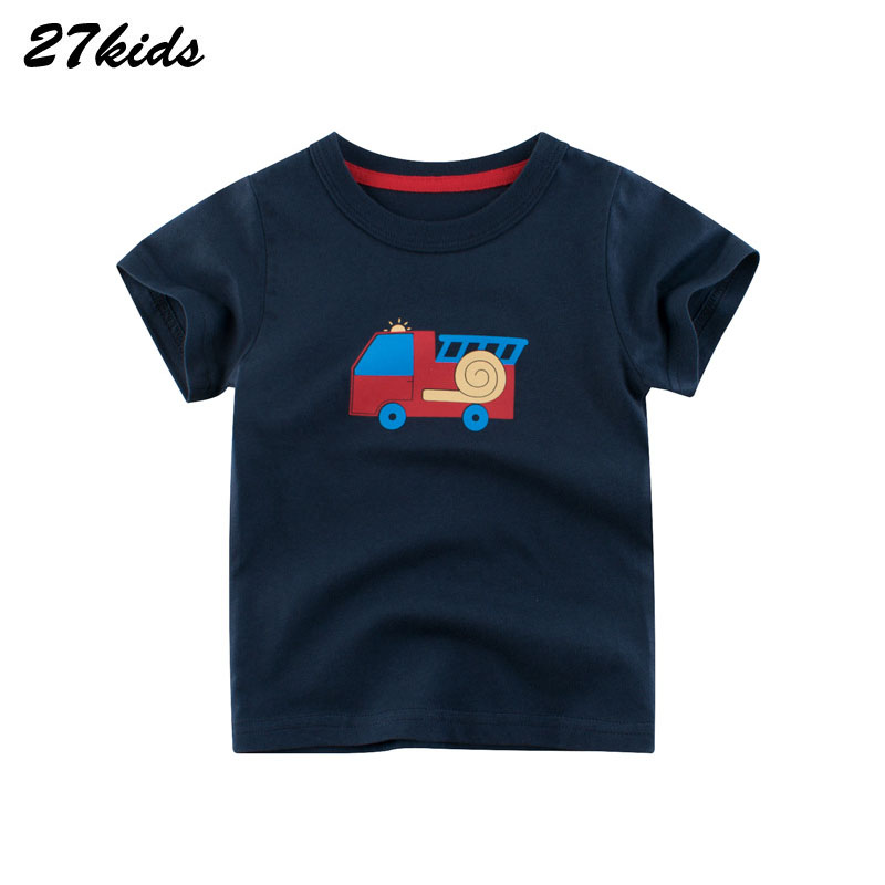 27kids Cartoon Tractor Vehicle Baby Kids Boy's Short Sleeve T Shirt Summer Cotton For Children Boy's Clothing Tees 2-9Years