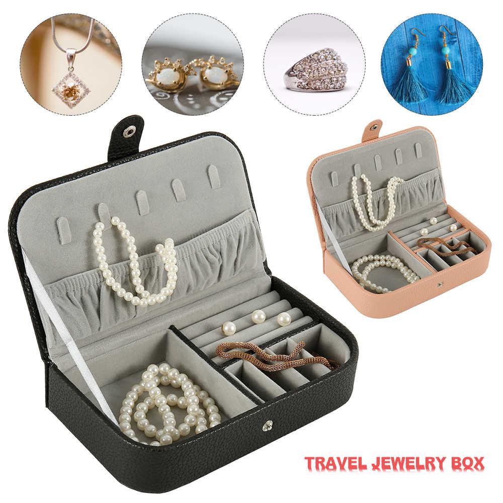 パターンの宝石箱革イヤリング収納ケースのためのポータブル単層ジュエリー整理メイクボックス旅行棺