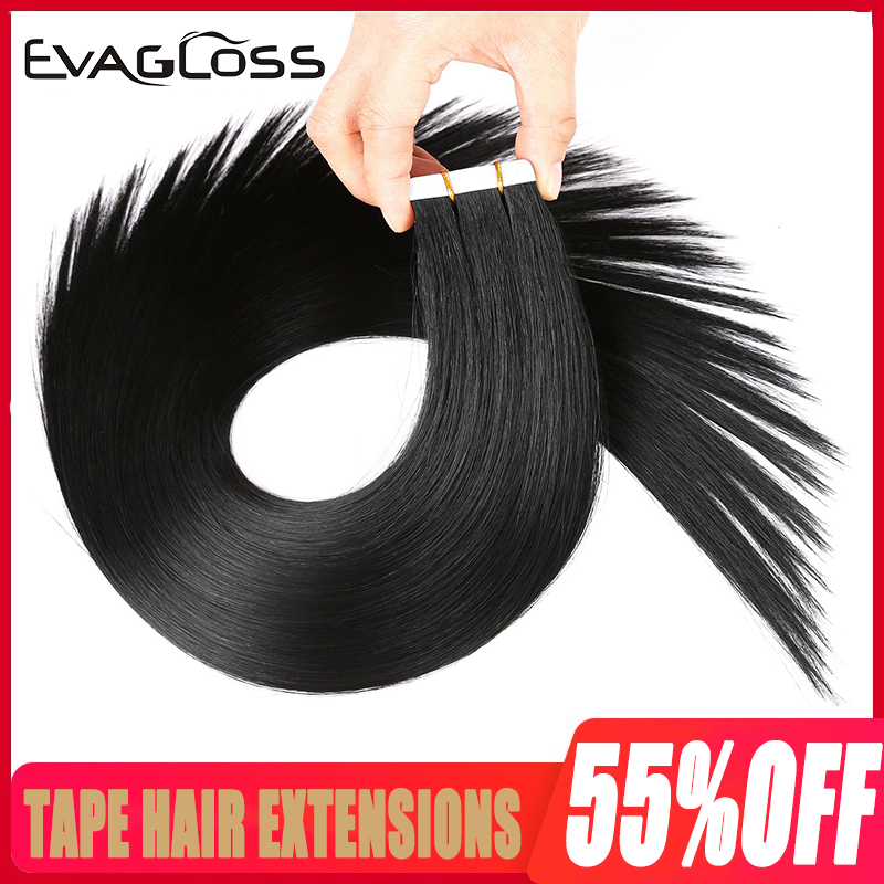 EVAGLOSS Skin Weft Machine Remy Tape In Human Hair Extensions 20pcs 40pcs 80pcs Adhesive Tape In Hair Extensions 12