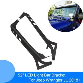 52 Inch LED Work Light Bar Upper Windshield Mounting Bracket for Jeep Wrangler JL 2018 2019 + Light Bar Holders Stands