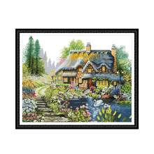 Villa In Het Bos 2 Telpatroon Aida 14ct 11ct Count Print Canvas Kruissteken Handwerken Borduren Diy Handgemaakte(China)