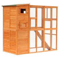 【USA Warehouse】Outdoor Durable Wire Mesh Wooden Cat Home Enclosure Pet Shelter Cage w/ Play Area Run