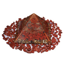 3.76inch Large Orgonite Pyramid Red Jasper Strong Energy Crystal Orgone Pyramid Healing Protection Resin Chakra Generator